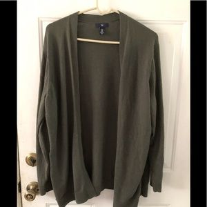 Gap gray-green open front oversized cardigan. XXL